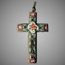 "Vintage Micro Mosaic 2"" Long Cross Pendant with Nice Filigree"