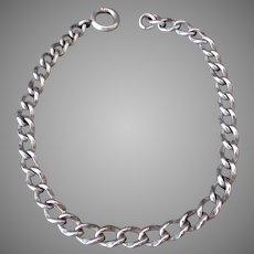 Vintage Sterling Silver Wrist Chain - Charm Bracelet – Heavy Links