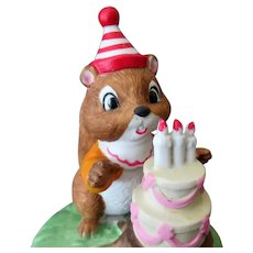 Vintage Chipmunk Birthday Cake - If I Could Talk To the Animals Music Box