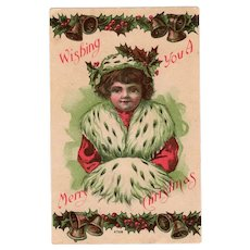 Vintage Christmas Postcard – 1909 – Little Girl in Ermine