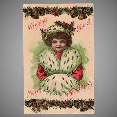 Vintage Christmas Postcard – 1909 – Little Girl in Ermine