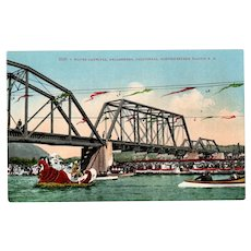 Vintage Water Carnival Healdsburg California Souvenir Postcard – Northwestern Pacific Railroad