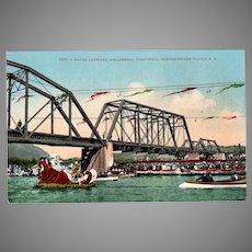 Vintage Water Carnival Healdsburg California Souvenir Postcard – Northwestern Pacific Railroad