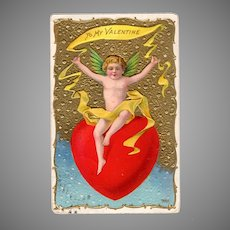 Vintage Valentine Postcard with Large Red Heart & Cupids and Roses