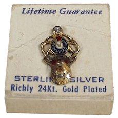 Vintage Sterling Silver Elks Lodge Lapel Pin with Original Card