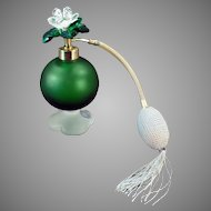 Vintage Irice Perfume Atomizer - Emerald Green Satin Glass - Jeweled Flower Cap 1950's