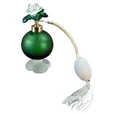 Vintage Irice Perfume Atomizer - Emerald Green Satin Glass - Jeweled Flower Cap 1950's