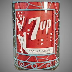 Unusual Vintage 7-Up Advertising - Seven-Up Soda Glass