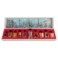 Vintage Les Grands Parfums de France - 10 Miniature Perfume Bottles in Original Box