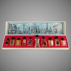 Vintage Les Grands Parfums de France - 10 Miniature Perfume Bottles in Original Box