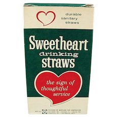 Box of Vintage Sweetheart Paper Straws - Large Box of Short Thin Straws
