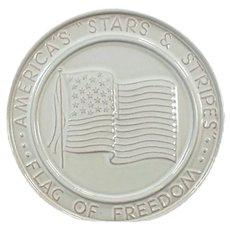 Vintage Frankoma Pottery Trivet - Stars & Stripes American Flag - White Glaze