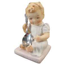 Vintage 1950's Baby's First Spoon Figurine with Chalice/Harmony Spoon