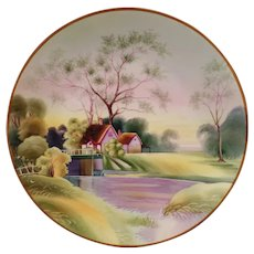 Vintage Morimura Nippon Hanging Plate with Lovely Lavender and Green Springtime Scene
