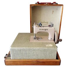 Vintage Child's Sewing Machine with Table Case - Singer Sew Handy