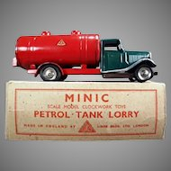 Vintage Tri-Ang Minic Tin Petrol Tank Lorry Gas Truck with Original Box