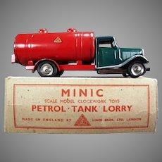 Vintage Tri-Ang Minic Tin Petrol Tank Lorry Gas Truck with Original Box