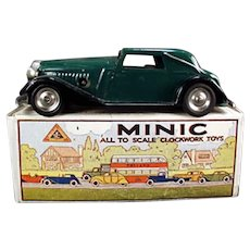 Vintage Tri-ang Minic Vauxhall Cabriolet Car with Box - Old Tin Wind-Up