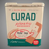 Vintage Curad Plastic Bandages Tin - 1960 - Nice Graphics Medical Advertising