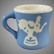 Child's Vintage Harker Pottery Cameoware Milk Mug - Circus Elephant & Toy Soldier