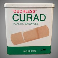 Vintage Curad Bandage Tin - Curad Ouchless Bandaids Medical Advertising