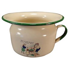 Child's Vintage Enamelware Chamber Pot with Little Johnny Stout Nursery Rhyme