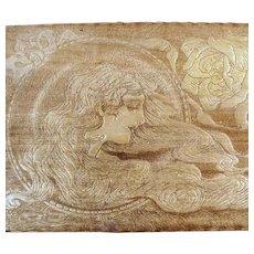 Vintage Wood Burned Folk Art Pyrography Tie Box with Art Nouveau Design