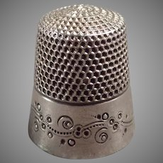 Vintage Ketcham & McDougall Sterling Silver Thimble with Pretty Design