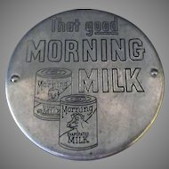 Vintage Morning Milk Can Opener and Saver Lid - Aluminum