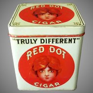Vintage Red Dot 5c Cigars Tin - Counter Display Tobacco Tin