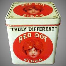 Vintage Red Dot 5c Cigars Tin - Counter Display Tobacco Tin