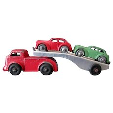 Vintage Slush Cast Car Carrier with Two Cars - Barclay