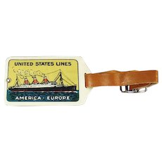 Vintage 1920's Celluloid Luggage Tag - United States Ship Lines - America Europe