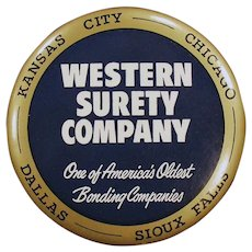 Vintage Celluloid Advertising Paperweight Mirror - Western Surety Kansas City Chicago Dallas Sioux Falls
