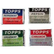 Vintage Topps Chewing Gum Tabs - Four Pieces in Different Flavors – 1940's