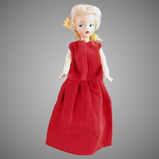 Vintage Evening Dress for Tammy & Other Similar Dolls - 2 Piece Red Velveteen