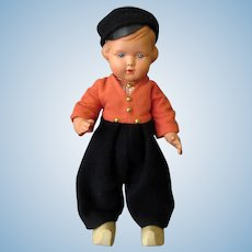 Vintage Celluloid Boy Doll – Marked Plawo Holland – Original Clothes & Wooden Shoes