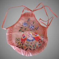 Vintage Tweedledee Tweedledum Alice in Wonderland Doll Apron – Pink Vinyl