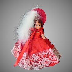 Vintage Nancy Ann Storybook Doll in Scarlet Red Outfit – Hard Plastic