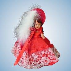 Vintage Nancy Ann Storybook Doll in Scarlet Red Outfit – Hard Plastic