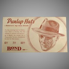 Vintage Advertising Ink Blotter for Dunlap Hats for Men at Bond Clothes