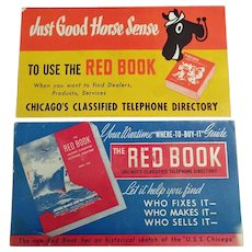 Two Vintage Advertising Ink Blotters - Chicago Red Book Phone Directory