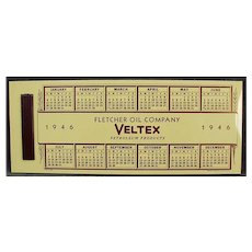Vintage Celluloid Advertising Ink Blotter - Veltex Fletcher Oil - 1946 Calendar