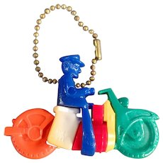 Vintage Dexterity Puzzle Key Chain - Colorful Plastic Motorcycle Toy with Original Instructions