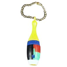 Colorful Plastic Vintage Dexterity Puzzle Key Chain - Skinny Bowling Pin