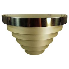 Vintage Deco Style Wall Sconce - Tiered Banded Metal Electric Light Fixture