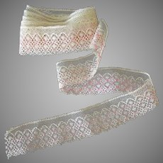 """60"""" Length of Vintage Lace Edging – Pale Ecru and Pink Lace Trim"""