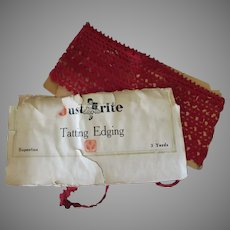 """48"""" Length of Vintage Tatted Edging – Old Red Thread Lace Tatting"""