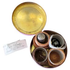 Small Vintage Sewing Kit in Hinged Brass Tin with Thread and Thimble