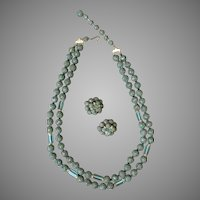 Vintage Necklace and Earring Suite - Japan Costume Jewelry Textured Beads and Aqua Glass